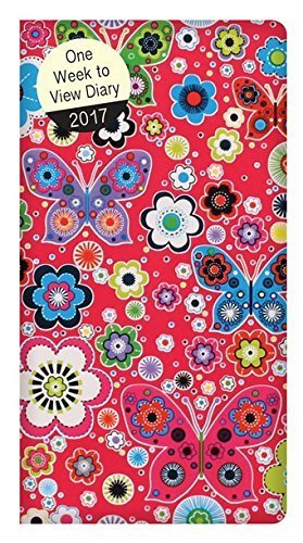 2017 Slim Pocket Week To View Coated Fabric Diary - Pink Red Floral Butterfly