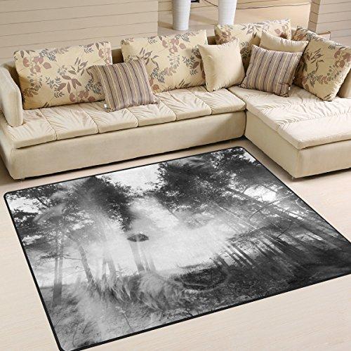 Use7 Teppich, Motiv Mystischer Wolf, Wald, Landschaft, Natur, Halloween, f¨¹r Wohnzimmer, Schlafzimmer, Textil, Mehrfarbig, 203cm x 147.3cm(7 x 5 feet)