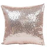 SetMei Solid Color Glitter Pailletten Dekokissen Fall (Silber,40X40cm) (C)