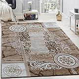Paco Home Designer Teppich Modern Meliert Floral mit Versace Muster Kreise Beige Creme, Grösse:200x280 cm