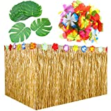 9 Feet Hawaiian Grass Table Skirt Decorations with 30 Pieces 7 Inch Tropical