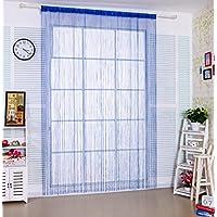 taiyuhomes Classic Warp tejer cortina para decoración del hogar y separador con ornamentales borla de rayas diseño perfecto como mosquitera, azul, W90xL200cm(35x79