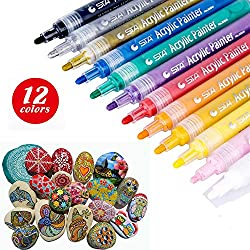 Acrylic Paint Pens Markers - Set of 12 STA Medium Point Tip for Rock Painting, Mug Design, Ceramic, Glass, Metal, Wood, Fabric, Canvas, Christmas Gift DIY Craft Kids - Smooth Coverage by TB