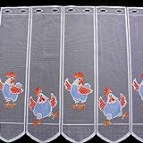 Scheibengardine Hühner orange blau Höhe 60cm | Breite der Gardine frei wählbar in 14cm Schritten | Gardine | Panneaux (Höhe 60cm)