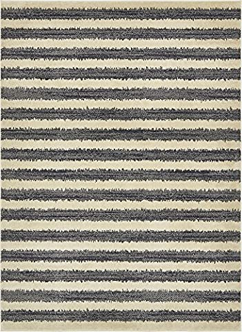 Modern 8-Feet by 11-Feet (8' x 11') Dimensions Black Contemporary Area Rug