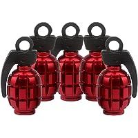 SENZEAL 5pcs Grenade Bomb Tire Valve Caps en Alliage D'aluminium Roue Air Tige Casquettes De Poussière Rouge