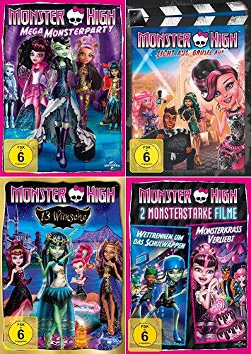 High 13 Dvd Monster (Monster High Collection | 13 Wünsche | 2 Monsterstarke Filme | Licht aus, Grusel an! | Mega Monsterparty (4-DVD))
