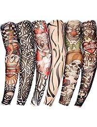 SUNNIOR novità Stretch Nylon slittamento finto kit tatuaggio dei manicotti del braccio (set di 6)
