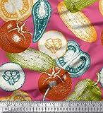 Soimoi Rosado terciopelo Tela tomate, pimiento y pepino vegetal tela estampada impresa por metro 58 Pulgadas de ancho
