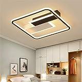 YEALEO Dimbare plafondlamp met afstandsbediening, 60 W, 50 cm, moderne plafondlamp, eenvoudige rechthoekige lamp voor woonkam