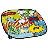 Auto-Sonnenschutz mit Namen Leon und buntem Comic-Motiv für Jungs - Auto-Blendschutz - Sonnenblende - Sichtschutz