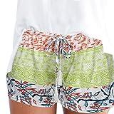 Frauen-reizvolle heiße Hosen ommer beiläufige Kurzschlüsse hohe Taille kurze Hosen Frauen böhmischen Sommer Print Strand Casual Shorts weite beinhosen weite hosen culotte hose damen (S, Grün)