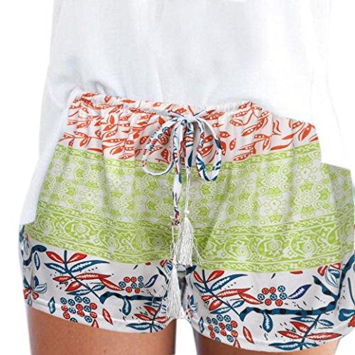 Frauen-reizvolle heiße Hosen ommer beiläufige Kurzschlüsse hohe Taille kurze Hosen Frauen böhmischen Sommer Print Strand Casual Shorts weite beinhosen weite hosen culotte hose damen (M, Grün)