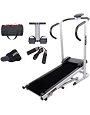 Lifeline Manual Treadmill Machine for Walking and Running at Home  Bonus Tummy Trimmer   Skipping Rope   Gym Bag and Sweat Belt for Stomach Exercise