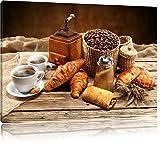 Aromatischer Kaffee mit Croissant, Format: 60x40 auf Leinwand, XXL riesige Bilder fertig gerahmt mit Keilrahmen, Kunstdruck auf Wandbild mit Rahmen, günstiger als Gemälde oder Ölbild, kein Poster oder Plakat