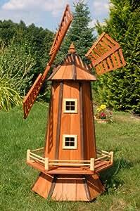 Deko-Shop-Hannusch Grand moulin à vent décoratif en bois
