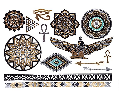 GOLD Tattoo, Flash Tattoos, Haut Tattoos, orientalischer Körperschmuck, Ägyptische Ornamente, Modeschmuck, ()