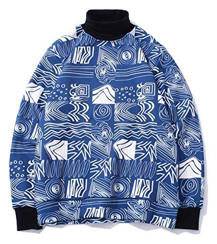 PIZOFF Unisex Hip-Hop Druckmuster Kapuzenpullover - tifer Schalternaht Raglan-Shirt mit Kapuze Kariert Blau Y1899-04-M