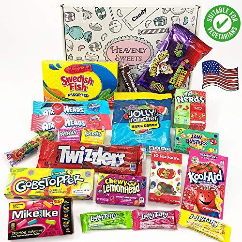 Heavenly Sweets Amerikanische Vegetarische Süßigkeiten-Box – Auswahl an süßen Leckereien & Pralinen aus den USA – Geschenke für Weihnachten, Geburtstag, Valentinstag – 20 Stk., coole Retro-Box