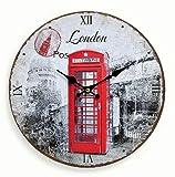 Reloj de pared de madera 29 cm - Diseño: Cabina telefónica de Londres Inglaterra roja - Digital números romanos - Cuarzo