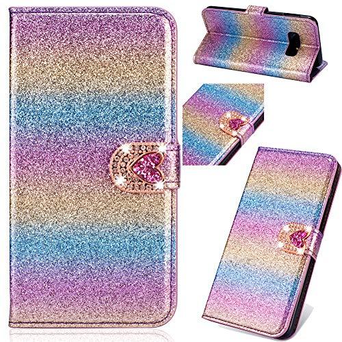 Pocket BookStyle für iPhone XR,Flip Folio Wallet Ledertasche Funkeln Bling Glitzer Diamant Loves Slim Leder Hülle Schutzhülle Scratch Bumper Stand Card Slots Shell -