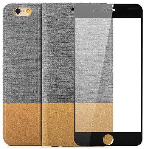 Custodia Apple iPhone 6 / 6S (4,7) Pellicola Protettiva 3D Flip Wallet [zanasta Designs] Case Copertura con Portafoglio - Pieghevole con Porta Carte, Alta Qualità Rosso-Marrone Grigio