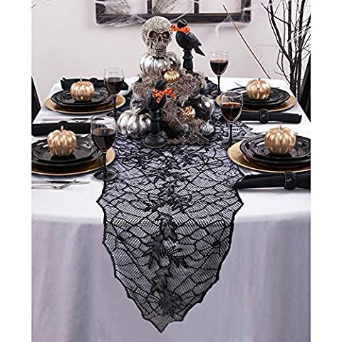 OurWarm Black Leaf Tablecloth Oval Lace Table Runner Halloween Party Haunted House Home Decorations 74 x 22 Inch