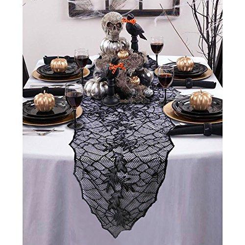 ischdecke Oval Lace Tischläufer Halloween Party Haunted Haus Home Decorations 74 x 22 Zoll (Black Lace Tischläufer)