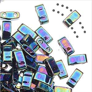 Perles Rectangle Double Trou Miyuki Half Tila 5x2.3mm - Bleu Iris Medium 7.8 Grammes