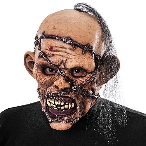 Carnival Toys - Máscara de látex zombi con alambre de espino y pelo con encabezado, multicolor (745)