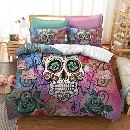 Cranio set di biancheria da letto stampa 3d dormitorio con camera da letto copripiumino matrimoniale singolo 1 e federa 2 3pcs
