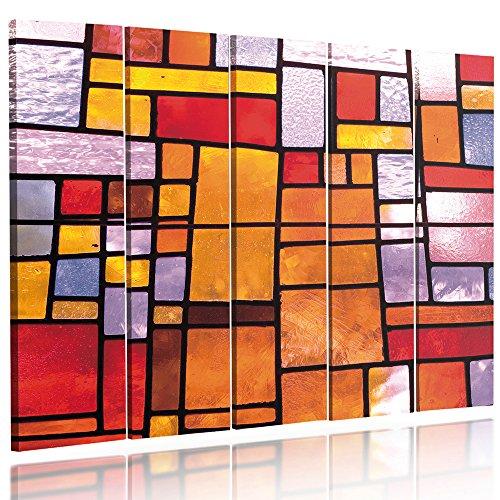 Feeby Frames, Quadro multipannello di 5 pannelli, Quadro su tela, Stampa artistica, Canvas Tipo C, 70x100 cm, ASTRAZIONE, GEOMETRIA, VETRATE, ARANCIONE, ROSSO