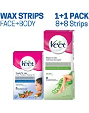 Veet Face and Body Waxing Kit for Dry Skin - 8 + 8 Strips