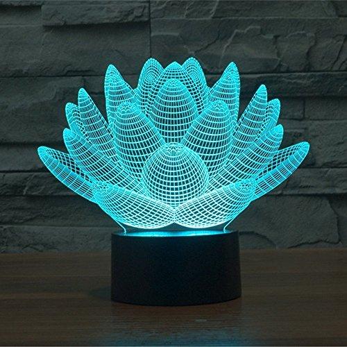 Lampe 3D ILLUSION Lichter der Nacht, kingcoo 7Farben LED Acryl Licht 3D Creative Berührungsschalter Stereo Visual Atmosphäre Schreibtischlampe Tisch-, Geschenk für Weihnachten, Kunststoff, Lotus 0.50 wattsW - 2