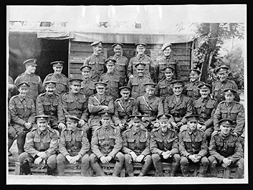 POSTER Staff of a trench mortar school in France from school, France, posing for the camera. The men, all sitting rows, are looking at camera and smiling. Scotland Wall Art Print A3 replica