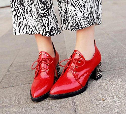 Womens scarpette Rivetti lacci incrociati-tacco alto casuale singoli pattini comodi red