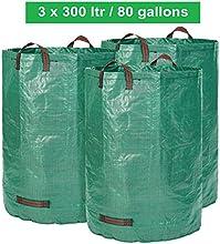 Saco de jardín-300litros de capacidad-3Unidades en Set-Bolsas de basura de jardín hojas y saco extra resistente-plegable-selbststehender Big Bag-PREMIUM CALIDAD
