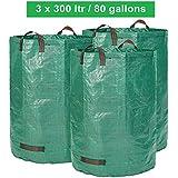 Sac de jardin - 300 litres de volume - 3 sacs par set - sac de déchets de jardin et de feuilles, extra robuste - pliable - grand sac autonome - qualité supérieure