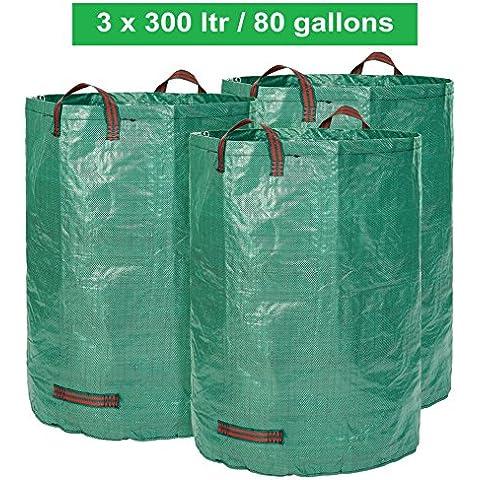 Sacco da giardino - 300 litri di volume - Set da 3 pezzi - Sacco per rifiuti da giardino e fogliame sacco Extra Robusto - pieghevole - selbststehender Big Bag - qualità PREMIUM