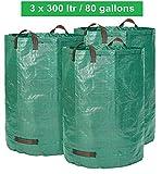Gartensack Set 3 x 300 Liter - 3 Premium Gartensäcke Extra Großes Volumen | Stabile Gartenabfallsäcke aus Extrem Robustem Polypropylen-Gewebe (PP) 150gsm | Selbststehende und Faltbare Laubsäcke von GloryTec