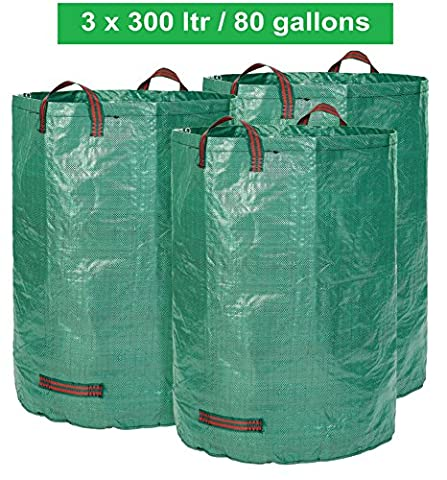 Garden bags - 300 LITER volume - 3 pieces in a set - Garden waste bag - foldable - self-contained big bag - premium