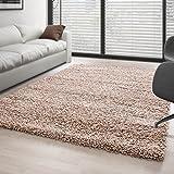 Teppich Hochflor Wohnzimmer Langflor Shaggy Unifarbe vers. Farben und Größen - Beige, 200x290 cm