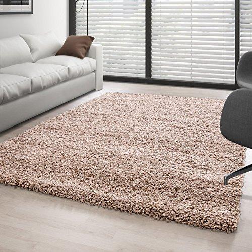 Carpettex Teppich Hochflor Langflor Wohnzimmer Shaggy Teppich Florhöhe 3cm Unifarbe - Beige, 160x230 cm