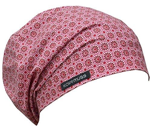 Kopfmuss - leichte, ungefütterte Sommermütze- M, blumenkette rosa/rot -