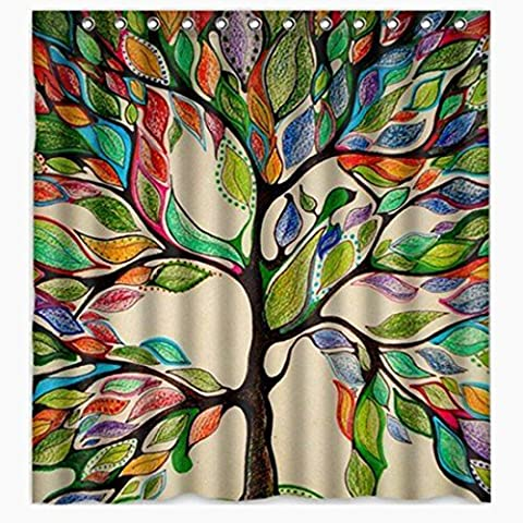 Sannix coloré Arbre de vie Magnifique comme plumes de salle de bain Rideau de douche sur mesure–Tissu Polyester enfants Rideau décoratif idées (152,4cm L x 182,9cm H), Polyester, 72
