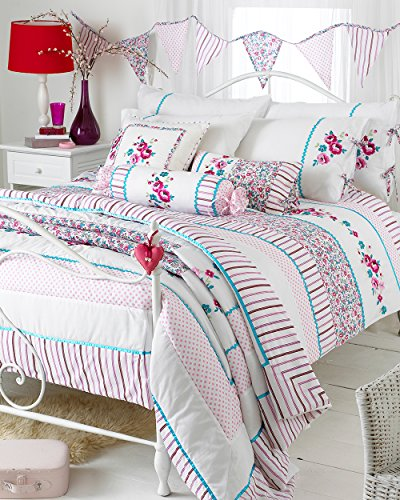 Riva Home Appleby Romany Floral Tagesdecke, gesteppt, Weiß/Pink/Kingfisher, 260x