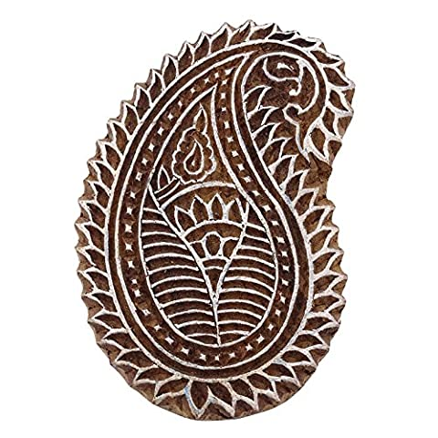 Stamp Handcarved Brown Paisley Textile en bois Timbres Blocks décoratifs indiens