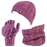HEAT HOLDERS Damen Handschuh-Set Mehrfarbig mehrfarbig One size Gr. One size, Rosa - Rose Pink Marl