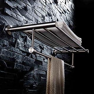 BXGJ Handtuchhalter Bad Handtuchhalter 304 Edelstahl gebürstet Handtuchhalter Bad perforierte Zahnstange Edelstahl Handtuchhalter (größe : 60)