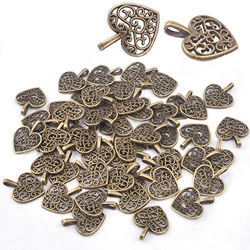 �nger Charms Perlen 50 Stück Antike Handwerk Herz DIY Charme Schmuck Erkenntnisse Anhänger Perlen für DIY Handwerk Schmuckherstellung (Bronze) ()